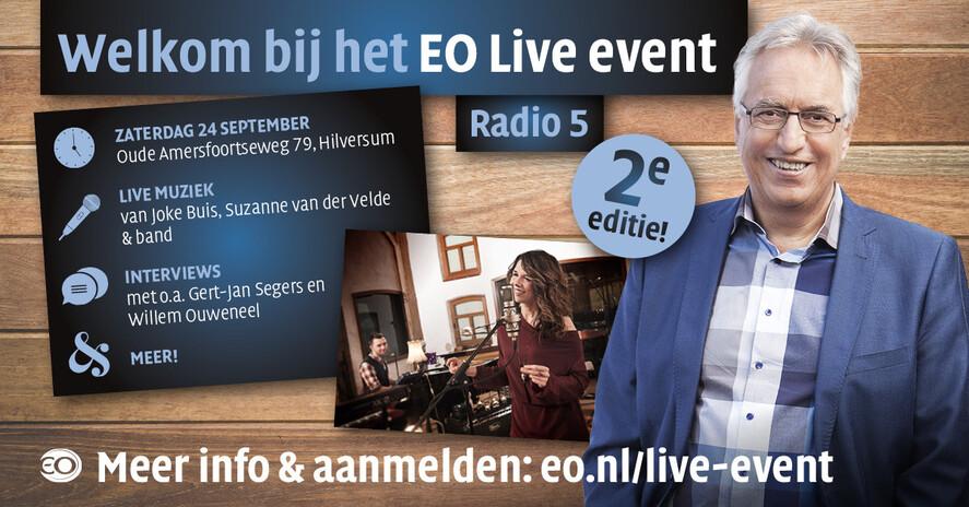 Afbeelding van aflevering: EO Live, live vanuit de EO Kapel! Met Gert-Jan Segers, Joke Buis en Suzanne van der Velde