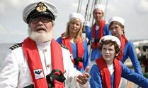 Vader met vier kinderen: op zee