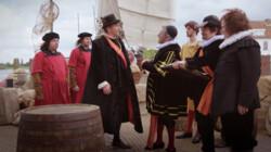 Filips II van Spanje vertrekt uit De Nederlanden: Willem van Oranje zwaait hem uit