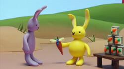 Konijn en Konijntje gooien blikken om: Een spelletje op de kermis