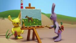 Konijn schildert een paard: Een schilderij komt tot leven