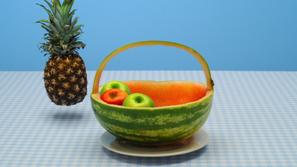 Maak van een meloen een boodschappenmandje