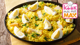 Kook mee met MAX Kedgeree met asperges, makreel en mangochutney