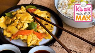 Kook mee met MAX Kip-kerrie met snijbonen en zoete aardappelpannenkoekjes