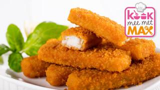 Kook mee met MAX Zelfgemaakte vissticks met doperwten in rode saus