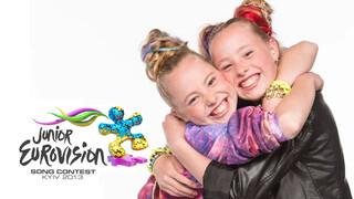 Junior Songfestival Mylène & Rosanne op weg naar Kiev
