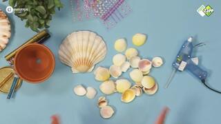 Zeemeermin schelpen bloempotje - Summer DIY | Jill
