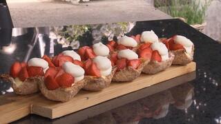 Aardbeienschelpen met slagroom