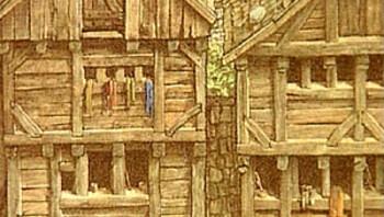 Houten huizen in de Middeleeuwen