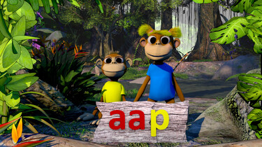 Letterjungle: De letter aa: aap