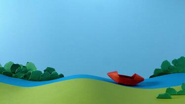 Een boot van origami