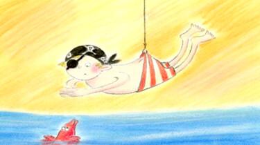 Aadje Piraatje krijgt zwemles