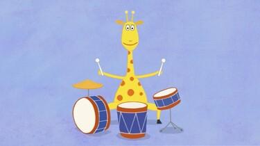 Giraf speelt drums
