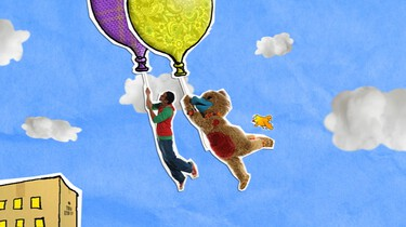 Hangen aan een touwtje van een mooie ballon