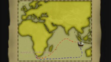 De route van de VOC