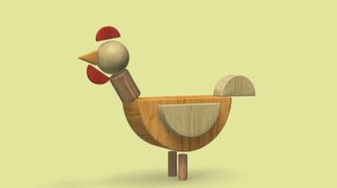 Een kip van blokken: Blokken worden dieren