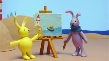 Konijn en Konijntje schilderen een boot