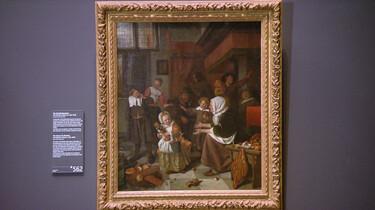 Het Sint-Nicolaasfeest van Jan Steen: Wie zoet is krijgt lekkers, wie stout is de roe