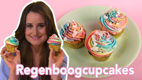 Regenboogcupcakes - Recept | Jill