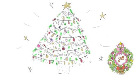 Glamour kerstboom tekenen