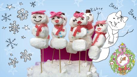 Sneeuwpop van marshmallows