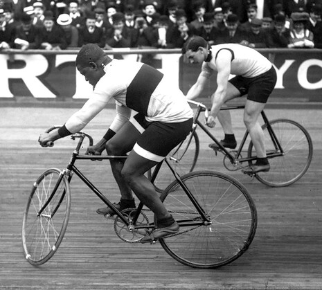 Major_Taylor_and_Léon_Hourlier,_Vélodrome_Buffalo_1909.jpg