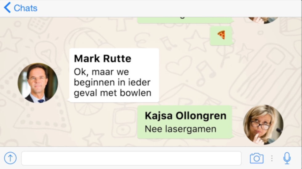 Rutte chat met Ollongren