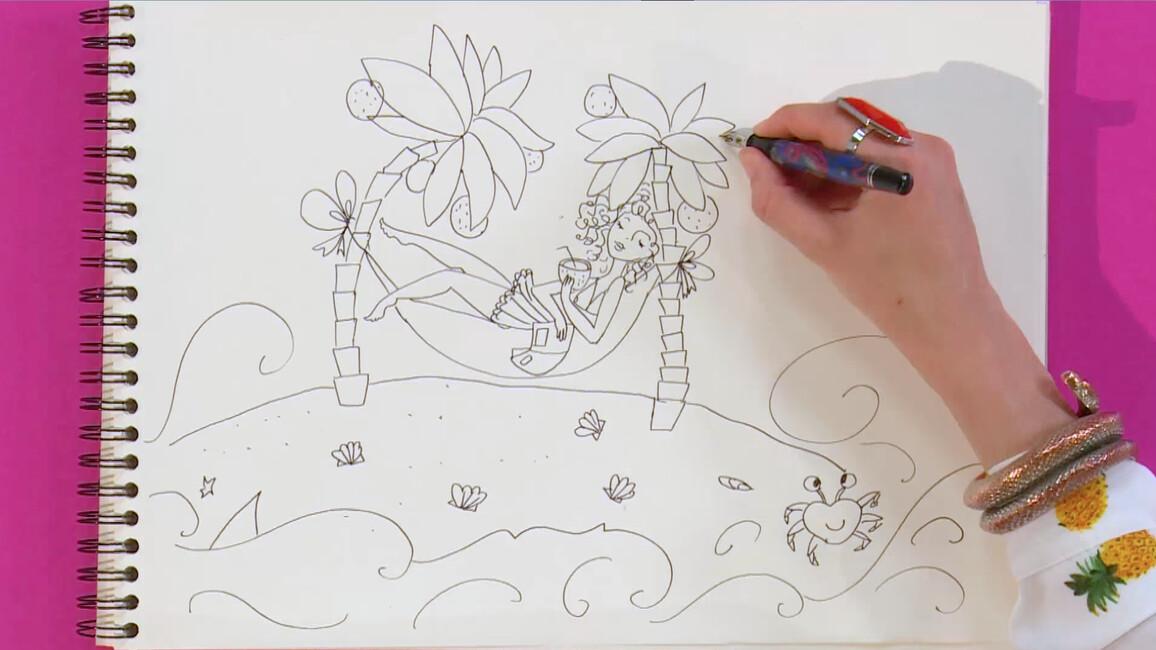 Eiland Met Palmbomen Tekenen Gemist Start Met Kijken Op